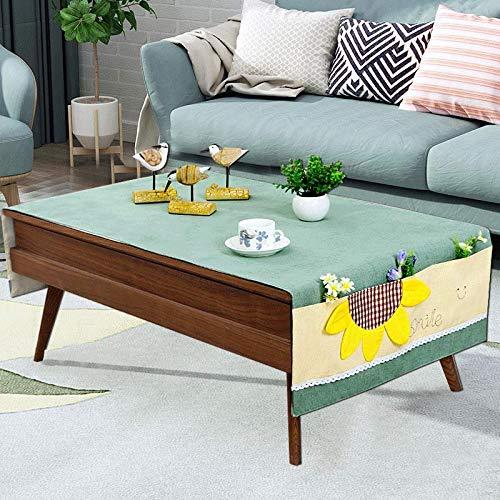 Creek Ywh tafelkleed van katoen en linnen, modern, rechthoekig, tv-kast, schoenafdekking, tafelkleed met bloemenmotief, breedte 45 cm, lengte 270 cm