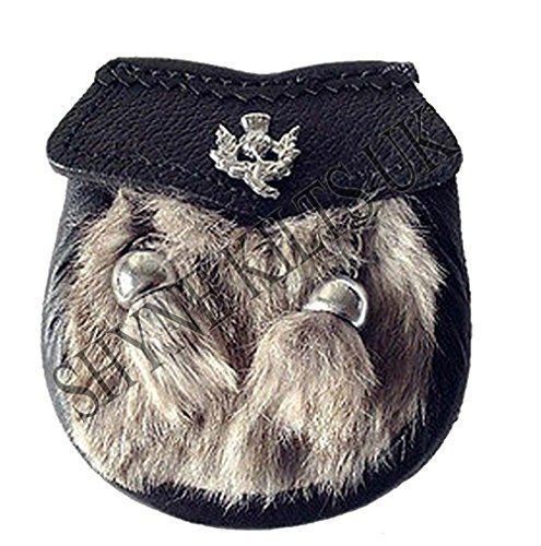 SHYNE KILTS U.K Baby Vestito Semi Pelliccia di Coniglio Grigio Kilt Borsa Kilt con Cardo Emblem & Catena Cintura