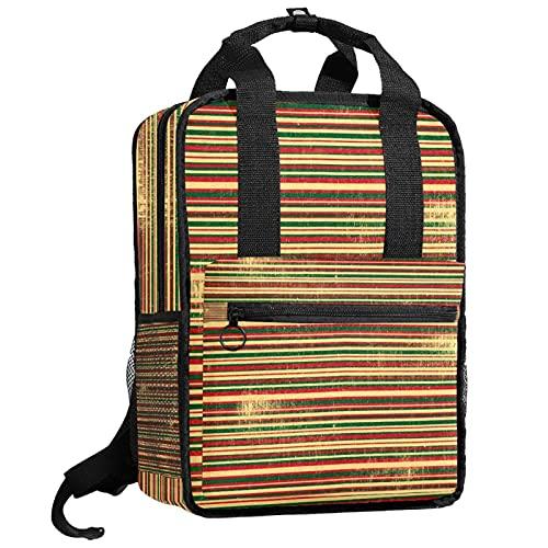 AITAI Grunge - Mochila para adolescentes, diseño de rayas, color rojo, verde y amarillo