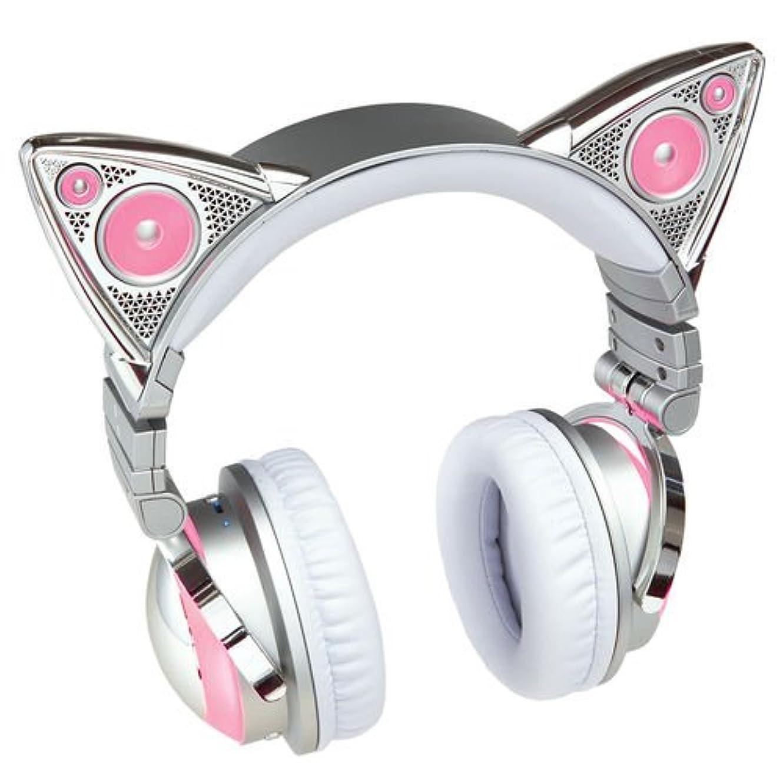 ファーム空洞バナーBrookstone ブルックストーン Ariana Grande アリアナ グランデ 猫耳 ヘッドフォン ワイヤレス AXENT WEAR Limited Edition Wireless Bluetooth LED Cat Ear Headphones [並行輸入品]