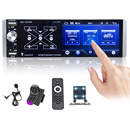 Single Din Car Stereo Touchscreen Car Radio 4.1 Inch Multimedia Player Bluetooth AM FM RDS Radio Receiver with Rear Microphone Input USB SD AUX Input + Rear View Camera & Steering Wheel Control
