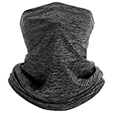 Neck Gaiter Face Mask for Men Women Summer Cooling Breathable Neck Wraps Face Cover Scarf Filter for Hiking Cycling Fishing (Dark Heather Gray)