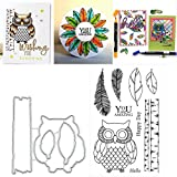 Owl Silicone Clear Stamp with Cutting Dies Stencil Set DIY Scrapbooking Embossing Photo Album Decorative Paper Card Craft Art Handmade
