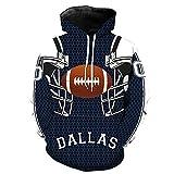 COZY LS Unisex con Capucha Suéter - Los Aficionados De La NFL Dallas Cowboys 3D Camiseta De Rugby Uniforme Primavera con Capucha Suéter De Béisbol con Bolsillo - Adolescentes Regalo Blue-XXXXL