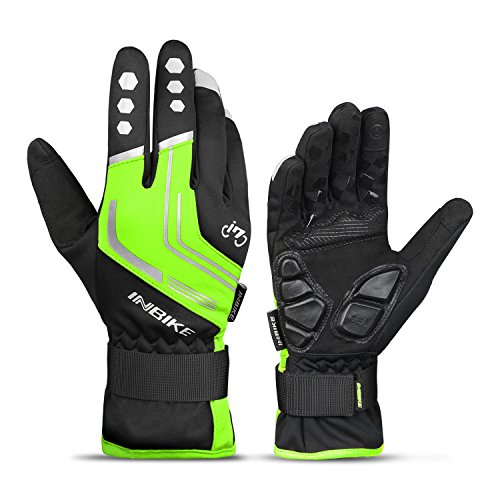 INBIKE Winter Cycling Gloves Full Finger Windproof for Men Mountain Bike Bicycle Glove Mens Racing (Green XL)