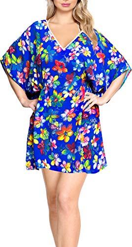 LA LEELA Damen Boho Bikini Cover Up Strandkleid Sommerkleid One Size passt Blau_M685 DE Größe: 32 (XS) - 44 (L)