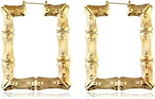 Large Bamboo Joint Hoop Earrings Hip-Hop Golden Big Circle Studs Earrings For Women Punk Party Fashion Jewelry