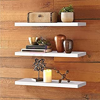 Device Bas with BROWN ART SHOPPEE 3 Pieces Floating Shelves, Wall Mounted Wooden Shelf with Invisible Brackets, Wall Decor...