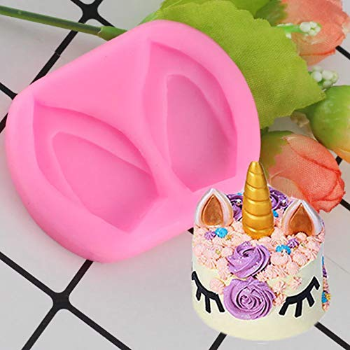 SKJH Birthday 3D Unicorn Ears Silicone Mold Candy Chocolate Clay Mould Cake Decorating Tools