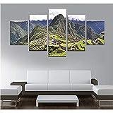 bnkrtopsu 5 Cuadro en Lienzo 5 Fotos Juntas en una Sala de Estar Dormitorio Creativo murales Decorativos y Carteles(Sin Marco) Paisaje andino