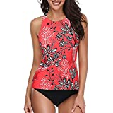MACKOU Full Coverage Bikini Top, Women Sexy Bikini Set Print Pleated Push-Up Padded Up Soft Bag Split Swimsuit Red