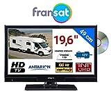 COMBINÉ TV DVD pour Camping Car LED 19,6' 49cm HD 12V Récepteur Satellite intégré...