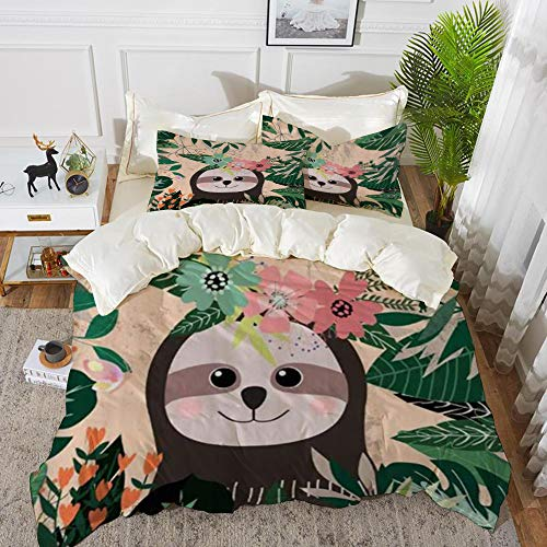 Duvet Cover Set, Bed Sheets, Tropical Green Leaves Cartoon Cute Animal Sloth,Microfibre Duvet Cover Set 220 x 240 cmwith 2 Pillowcase 50 X 80cm