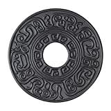 Hwagui - Black Cast Iron Teapot Trivet With Rubber Pegs For Dining And Kitchen Table, 5.5 ...