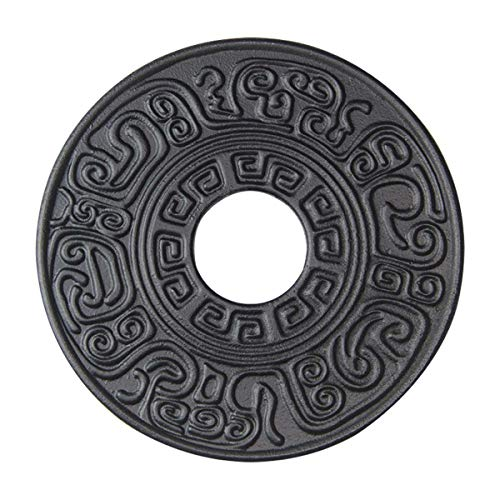 Hwagui - Black Cast Iron Teapot Trivet With Rubber Pegs For Dining And Kitchen Table, 5.5 Inch Diameter
