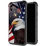 iPhone XR Hülle, 9H gehärtetes Glas, iPhone XR Hüllen, American Adler Muster für Männer & Jungen, weiches Silikon TPU Bumper Hülle für iPhone XR Zoll 6.1 American Adler
