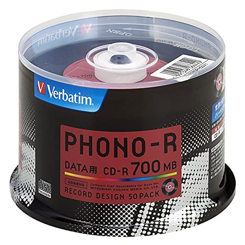 スマートマットライト 三菱ケミカルメディア Verbatim 1回記録用 CD-R SR80PH50V1 (レコードデザイン/48倍速/50枚)
