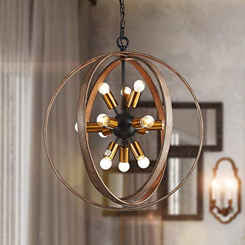 Saint Mossi Oaky Wood Painted Metal and Warm Brass Finish Orb Chandelier 12 Lights 24
