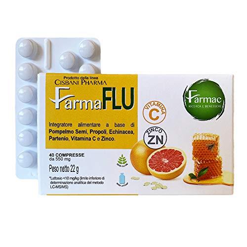 FARMAFLU | Difese Immunitarie | a base di Semi di Pompelmo, Propoli, Echinacea, Vitamina C e Zinco | 40 compresse naturali per il sistema immunitario | Cisbani Pharma, integratore difese immunitarie