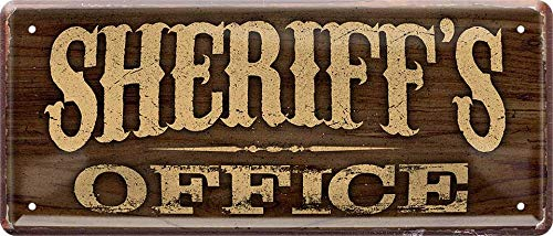 Blechschilder Divertido cartel decorativo de metal con texto 'Sheriff's Office' para puerta de entrada, idea de regalo para cumpleaños o Navidad, 28 x 12 cm