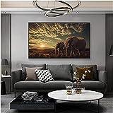 VUSMH Cuadros Decoracion Cuadro artístico en Lienzo con Dos Elefantes de la Sabana Africana Poster e Impresiones Cuadros escandinavos Cuadro artístico de Pared60x90cm x1 Sin Marco