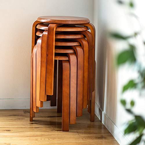 イーサプライ丸椅子木製天然木スツールスタッキングナチュラル補助ブラウン6脚セットEEX-CH41DBX6