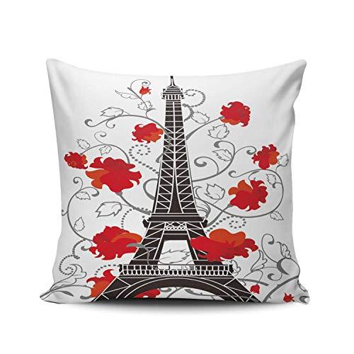 GOSMAO Funda de Almohada Torre Eiffel y Flor Roja Algodón Lino Throw Pillow Case Funda de Almohada para Cojín 45x45 cm