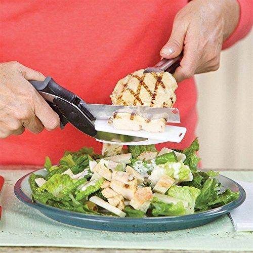 NWSS 2 en 1 Cocina cuchillo de tijera Combinación de cuchillo de cocina con tabla de cortar Multi-propósito de alimentos Chopper Tijeras Cortador de cuchillos