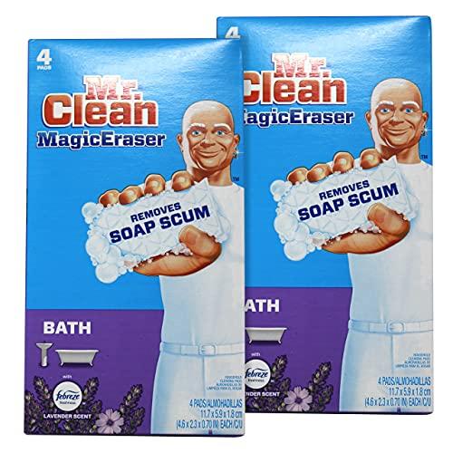 Mr. Clean Magic Eraser Lavender Scent with Febreze, Removes Soap Scum, 4 Pads (Pack of 2)