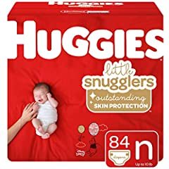 Huggies Little Snugglers diapers size newborn fit babies up to 10 lb. (4.5 kg) Huggies GentleAbsorb Liner protects baby's skin by pulling the mess away, while Pocketed Back Waistband contains the mess and helps prevent diaper blowouts Huggies Leak Lo...