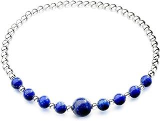 3fa2ae25fc3 Jewboo Bracelet élastique en argent sterling 925 avec perles lapis lazuli  pour femme de 15