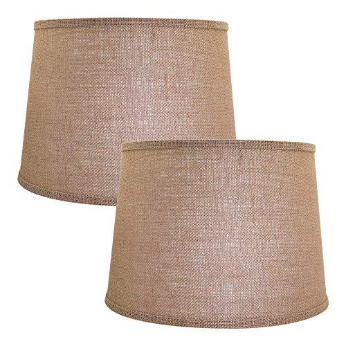 Double Medium Lamp Shades Set of 2, Alucset Drum Fabric Burlap Lampshades for Table Lamp and Floor Light,10x12x8 inch, Natural Linen Hand Crafted, Spider (Light Brown, 2 pcs pack)