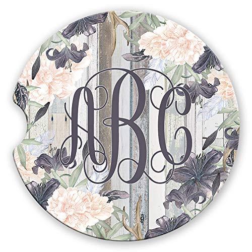 Personalized Monogram Sandstone Car Coasters Western Boho Floral Lavender Pink Grey Wood, Set of 2