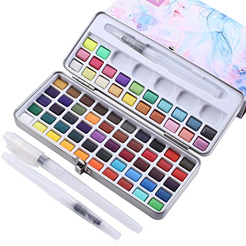 MISULOVE Watercolor Paint Set, 72 Colors - Including Metallic and Neon, Watercolors Field Sketch Set with Brush for Students, Kids, Beginners and More