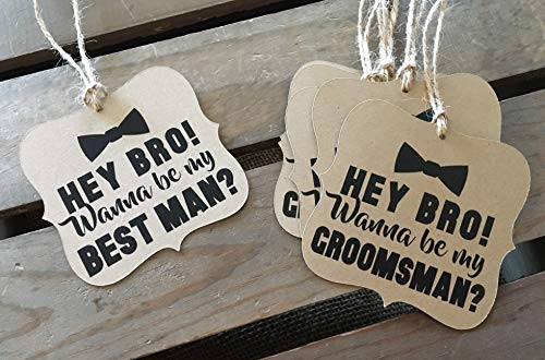 Will you be my Groomsman - Best Man - Usher - Square Bracket Shaped - Rustic Modern - WEDDING - Bow Tie - Personalize - Recycled - Eco Friendly
