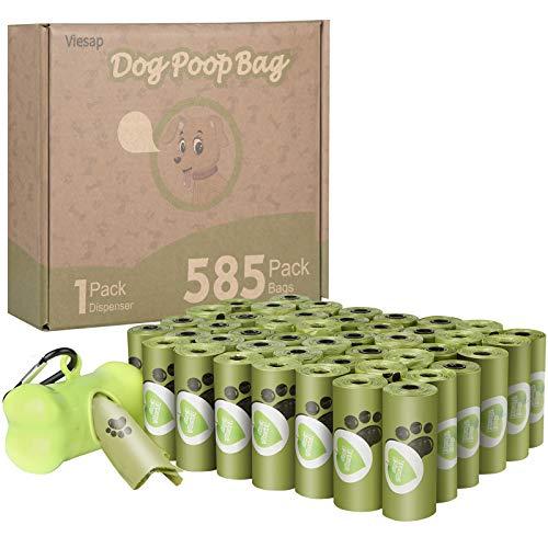 Viesap Sacchetti Per Cani, 585 Pezzi Dog Poop Sacchetti Dog Sacchetti Di Rifiuti Con Dispensers, Extra Spesso A Prova Di Perdite Dog Poo Bags Fatti Da Amido Di Mais, Verde Sacchetti Per Cani.