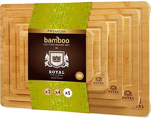 Wood Cutting Board Set of 5 - Bamboo Cutting Board