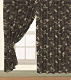 Children's ARMY Kids Pair of 66' Width x 72' Drop CAMOUFLAGE DESIGN CURTAINS With Matching Tie Backs By...