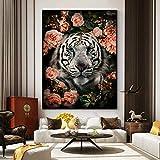 DCLZYF Arte de Pared Moderno Tigre Flor Lienzo Pintura Carteles e Impresiones imágenes de Animales de la Selva para la decoración del hogar de la Sala de estar-60x80cm (sin Marco)