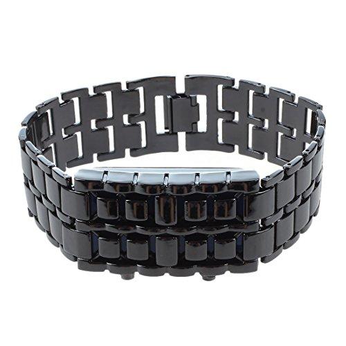 Wivarra Blaulicht Schwarz Metallarmband Lava Style Digital LED Watch Boy