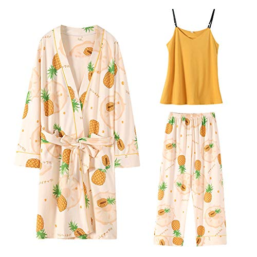 DFDLNL Otoño Piña Cardigan Pijamas Kimono Mujer Completo algodón Casual Bata + Chaleco + Pantalones Servicio a Domicilio M