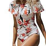 Bañadores Mujer Una Pieza Bikinis Elegantes Vintage Impresión Floral Sin Hombro con Volantes Verano Playa Biquinis Trajes De Baño