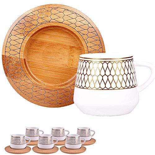 Alisveristime 12 Stück türkische griechische arabische Kaffee Espresso-Tasse Untertasse Porzellan Set arabische Muster Tassen (Hattat)