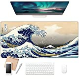 EkuaBot Kanagawa Large Gaming Mouse Pad (35.4×15.7 in, 3mm Thick), Non-Slip Rubber Base and Reinforced Lock Edges, XXL Extended Mousepad for Work, Game, Desktop Decoration