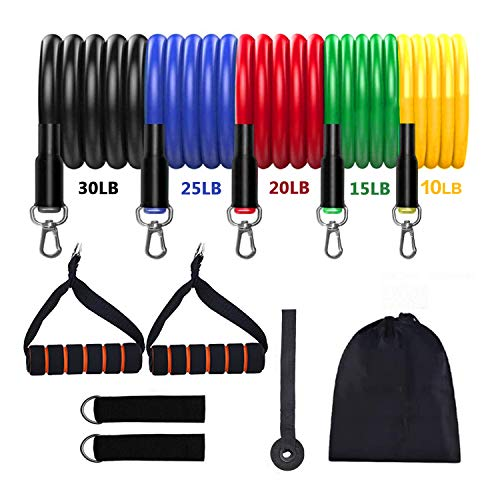 Raoccuy Resistance Bands Set - Workout Exercise Bands for Men Women - Home Workouts and Resistance Training Bands with Handles, Ankle Straps
