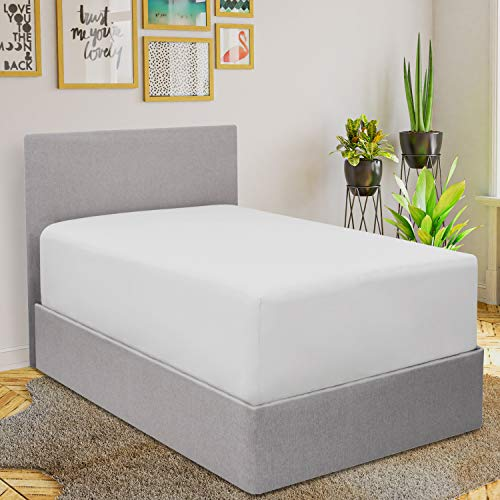 Mellanni Extra Deep Pocket Fitted Sheet - Extra Deep Pocket King Size Bottom Sheet Only - 1800 Brushed Microfiber - Elastic All Around - Easily Fits 18-21'' Mattresses (King, White)