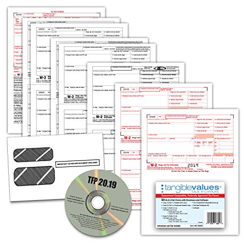 W-2 Tax Forms 2019 - Tangible Values 6-Part Laser Tax Form Kit with Envelopes - Includes TFP Software, 50 Pack