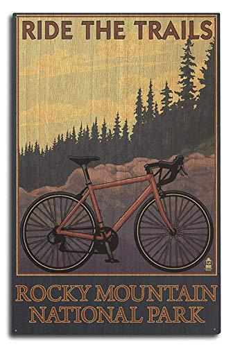 PotteLove Rocky Mountain National Park, Colorado - Mountainbike 10x15 wanddecoratie houten bord