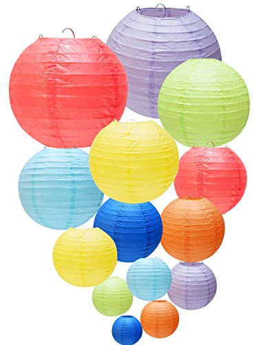 YOKARTA 14er Set Papier-Laternen Deko-Lampions rund bunt | Schöne Hochzeit-Deko, Party-Deko, Geburtstag-Deko | Lampenschirme Dekoration Verschiedene Farben
