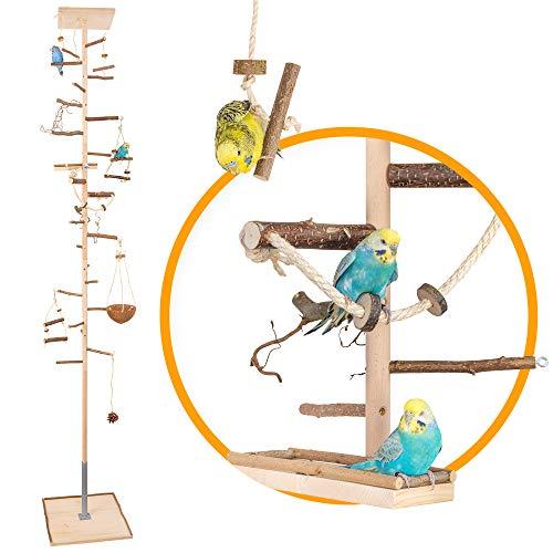 Zimmerhoher Vogel-Kletterbaum 250-252 cm HiFly Medio mit Naturholz-Sitzstangen, Vogel-Spielzeug, Vogelschaukel. Vogelspielplatz, Freisitz, Freiflug Landeplatz für Wellensittich, Nymphensittich, Co.